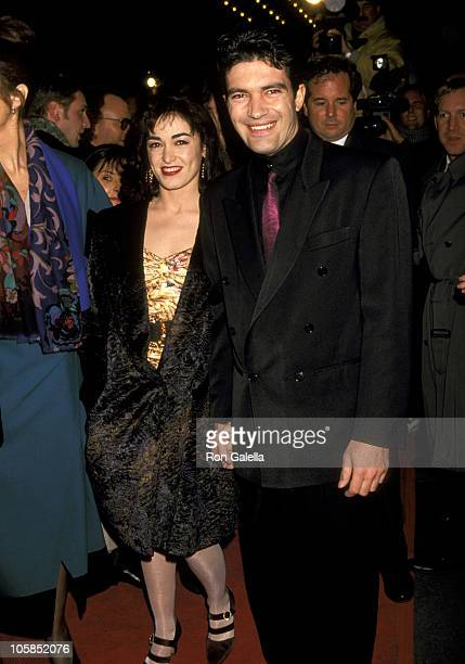 Antonio Banderas and Wife Ana Leza during The Mambo Kings New York Premiere February 12 1992 at Ziegfield Theatre in New York City New York United...