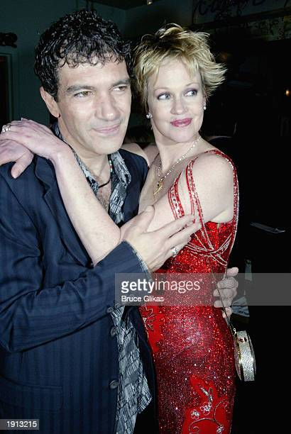 Antonio Banderas and wife Melanie Griffith celebrate at the Opening Night Party for The Roundabout Theater Company Production of Nine at The China...