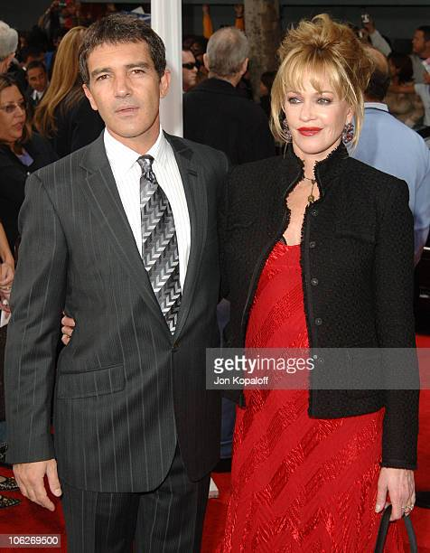 Antonio Banderas and wife Melanie Griffith during 'The Legend of Zorro' Los Angeles Premiere Arrivals at Orpheum Theatre in Los Angeles California...