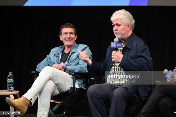 Antonio Banderas and writer/director Pedro Almodóvar at the Pain and Glory press conference during the 57th New York Film Festival at Walter Reade...
