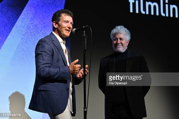 Antonio Banderas and writer/director Pedro Almodóvar introduce Pain and Glory during the 57th New York Film Festival at Alice Tully Hall Lincoln...