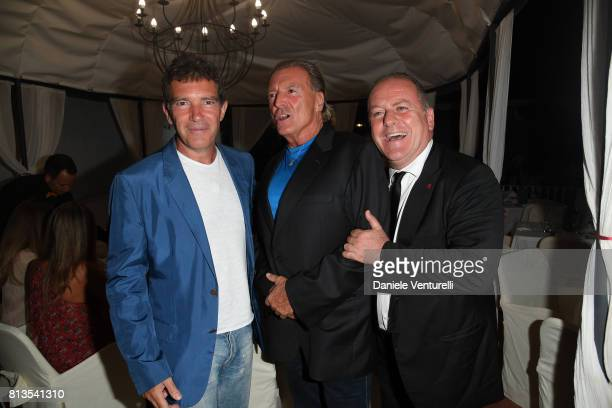 Antonio Banderas Armand Assante and Pascal Vicedomini attend 2017 Ischia Global Film Music Fest on July 12 2017 in Ischia Italy