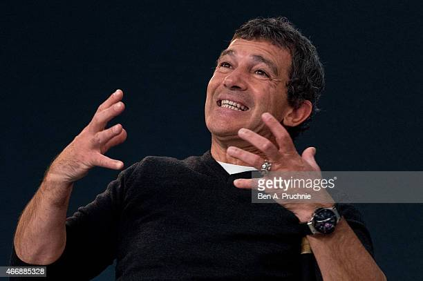 Antonio Banderas attends a special meet the actor presentation at Apple Store Regent Street on March 19 2015 in London England