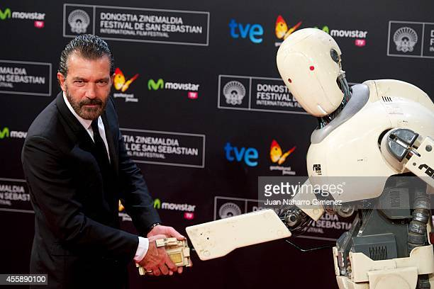 Antonio Banderas attends 'Automata' premiere during 62nd San Sebastian International Film Festival at the Kursaal Palace on September 21 2014 in San...