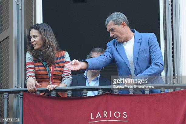 Antonio Banderas attends procesion during Holy Week celebration on April 16 2014 in Malaga Spain