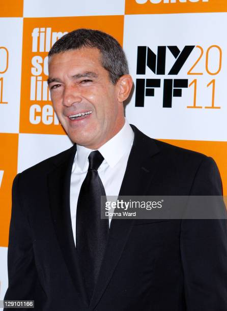 Antonio Banderas attends the 49th annual New York Film Festival presentation of The Skin I Live In at Alice Tully Hall Lincoln Center on October 12...