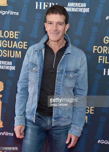 Antonio Banderas attends the HFPA's 2020 Golden Globes Awards Best Motion Picture Foreign Language Symposium at the Egyptian Theatre on January 04...