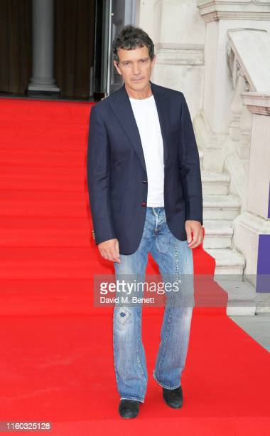Antonio Banderas attends the opening night of Film4 Summer Screen at Somerset House featuring the UK Premiere of Pain And Glory on August 8 2019 in...