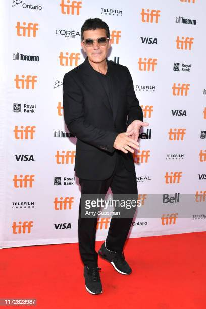 Antonio Banderas attends the Pain And Glory premiere during the 2019 Toronto International Film Festival at Ryerson Theatre on September 06 2019 in...