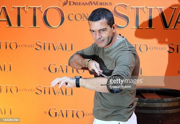 Antonio Banderas attends the 'Puss in Boots' photocall at Hotel Hassler on November 25 2011 in Rome Italy