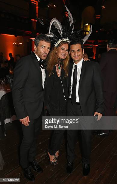 Antonio Banderas Eva Cavalli and Khaled AlMuhairy attend Eva Cavalli's birthday dinner party at One Mayfair on October 9 2015 in London England
