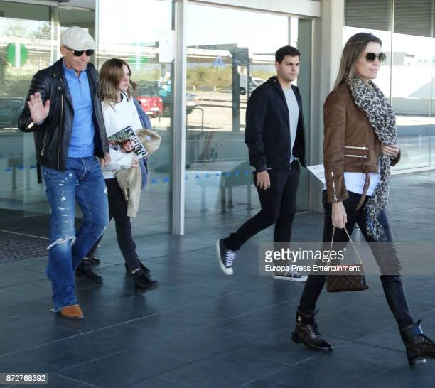 Antonio Banderas his daughter Stella del Carmen Banderas and his girlfriend Nicole Kimpel are seen on November 7 2017 in Barcelona Spain