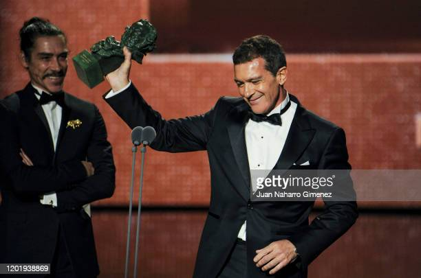 """Antonio Banderas holds the Best Actor Award for the film """"Dolor y Gloria"""" during the 34th edition of the 'Goya Cinema Awards' ceremony at Jose Maria..."""