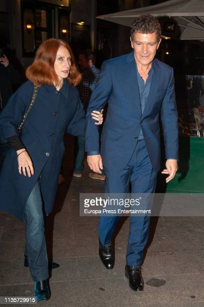 Antonio Banderas is seen arriving to the after party for the premiere of 'Dolor y Gloria' on March 14 2019 in Madrid Spain