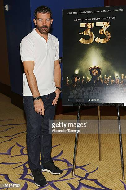 Antonio Banderas is seen during a brunch to promote the film 'The 33' at the Mandarin Oriental on October 31 2015 in Miami Florida