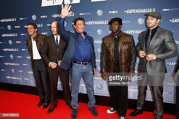 Antonio Banderas Jason Statham Sylvester Stallone Wesley Snipes and Kellan Lutz attend the German premiere of the film 'The Expendables 3' at...