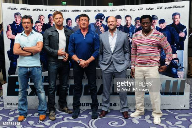 Antonio Banderas Kellan Lutz Sylvester Stallone Jason Statham and Wesley Snipes attending a photocall for The Expendables III at the Corinthia Hotel...