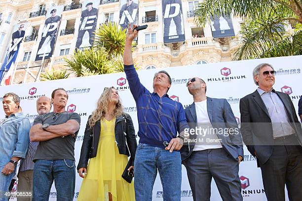 Antonio Banderas Kelsey Grammer Arnold Schwarzenegger Ronda Rousey Sylvester Stallone Jason Statham and Harrison Ford attends a photocall for 'The...