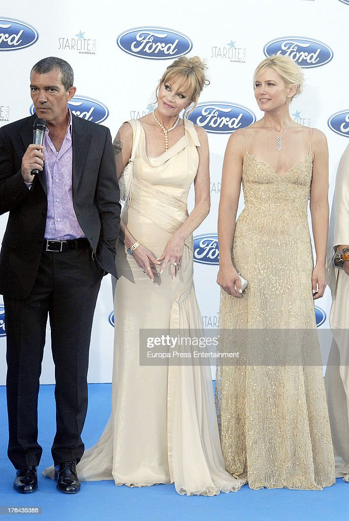 Antonio Banderas, Melanie Griffith and Valeria Mazza attend the 4rd annual Starlite Charity Gala on August 10, 2013 in Marbella, Spain.