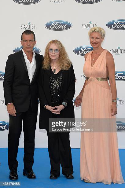 Antonio Banderas Mia Farrow and Anne Igartiburu attend the 5th annual Starlite Charity Gala on August 9 2014 in Marbella Spain