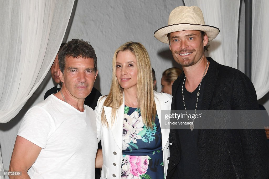Antonio Banderas, Mira Sorvino and Christopher Backus attend 2017 Ischia Global Film & Music Fest on July 12, 2017 in Ischia, Italy.