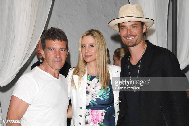 Antonio Banderas Mira Sorvino and Christopher Backus attend 2017 Ischia Global Film Music Fest on July 12 2017 in Ischia Italy