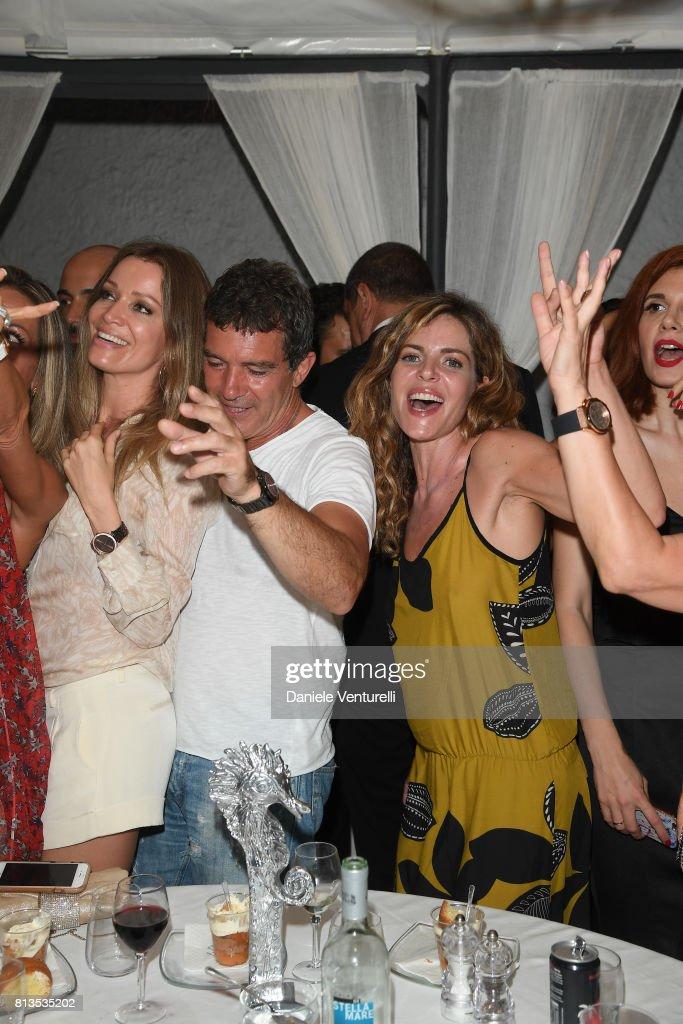 Antonio Banderas, Nicole Kempel and Elisabetta Pellini attend 2017 Ischia Global Film & Music Fest on July 12, 2017 in Ischia, Italy.