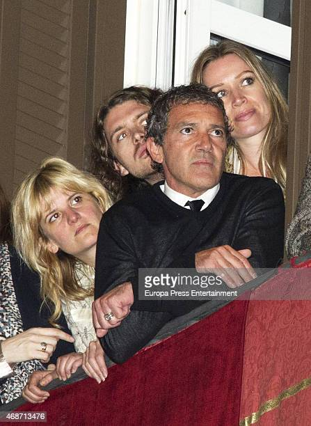 Antonio Banderas Nicole Kimpel and Alexander Bauer attend procesion during Holy Week celebration on April 3 2015 in Malaga Spain