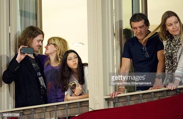 Antonio Banderas Nicole Kimpel and Melanie's Griffith son Alexander Bauer attend procesion during Holy Week celebration on April 2 2015 in Malaga...