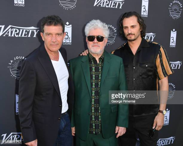 """Antonio Banderas, Pedro Almodóvar and Asier Etxeandia attend the photocall for """"The Journey By The Land"""" during the 72nd annual Cannes Film Festival..."""