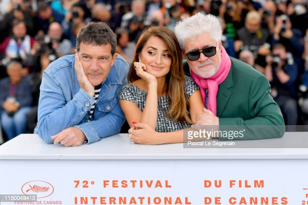 Antonio Banderas Penelope Cruz and Director Pedro Almodovar attend the Pain And Glory photocall during the 72nd annual Cannes Film Festival on May 18...