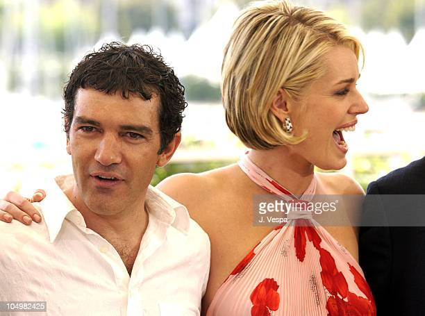 Antonio Banderas Rebecca RomijnStamos during Cannes 2002 'Femme Fatale' Photo Call at Palais des Festivals in Cannes France