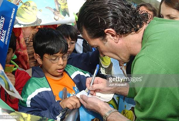 """Antonio Banderas signing autographs during DreamWorks' """"Shrek 2"""" Opening Day Special Screening And Waffle Breakfast at ArcLight Cinerama Dome in..."""