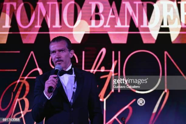 Antonio Banderas speaks at the Miami Fashion Week Benefit Gala at Dupont Building on June 2 2017 in Miami Florida