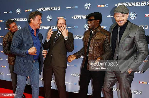 Antonio Banderas Sylvester Stallone Jason Statham Wesley Snipes and Kellan Lutz attend the German premiere of the film 'The Expendables 3' at...