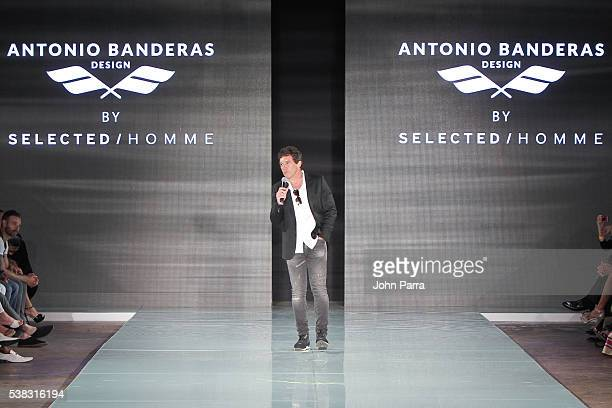 Antonio Banderas talks during the closing ceremony at Miami Fashion Week in the Ice Palace on June 5 2016 in Miami Florida