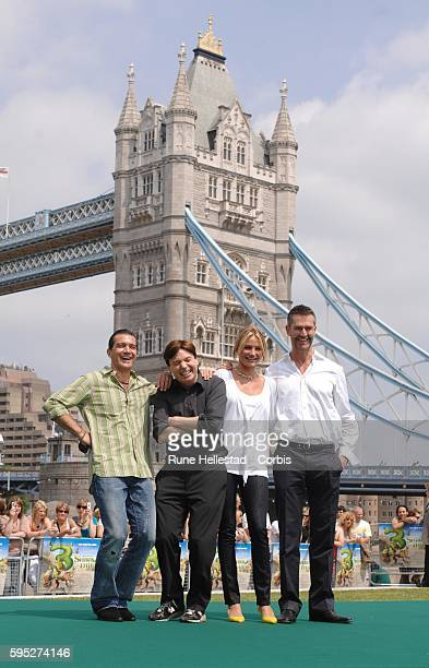 Antonio BanderasMike MyersCameron Diaz and Rupert Everett attend a photocall for Shrek The Third in front of Tower Bridge