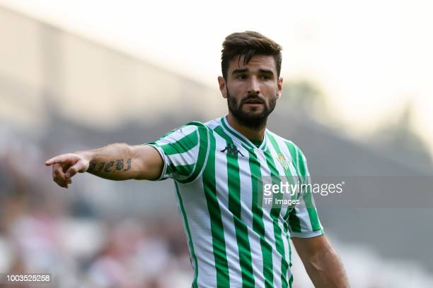 Antonio Barragan of Betis gestures during the Interwetten Cup match between RotWeiss Essen and Betis Sevilla at Stadion Essen on July 21 2018 in...