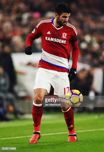 Antonio Barragan of Middlesborough controls the ball during the Premier League match between Middlesbrough and Hull City at Riverside Stadium on...