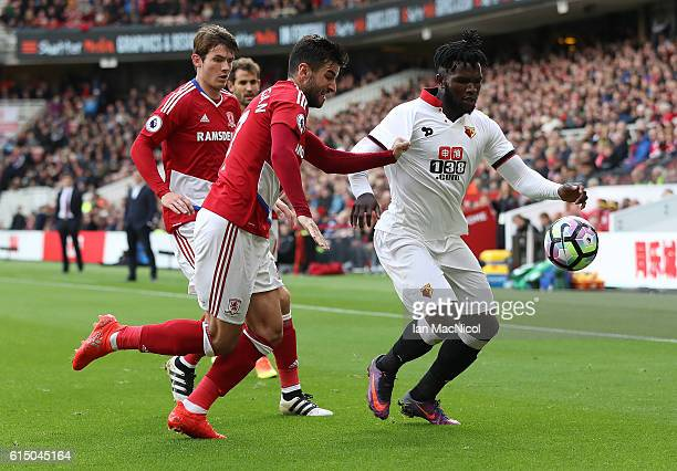Antonio Barragan of Middlesborough vies with Isaac Success of Watford during the Premier League match between Middlesbrough and Watford at Riverside...