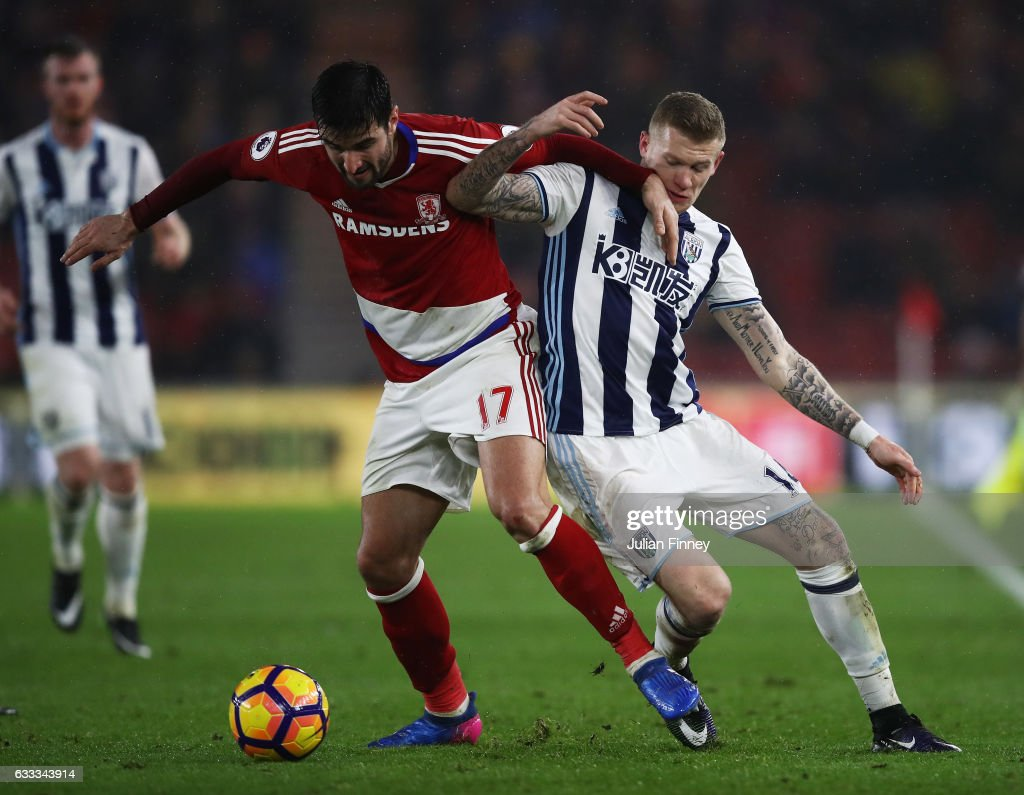Antonio Barragan of Middlesbrough and James McClean of West Bromwich Albion compete for the ball during the Premier League match between Middlesbrough and West Bromwich Albion at Riverside Stadium on January 31, 2017 in Middlesbrough, England.