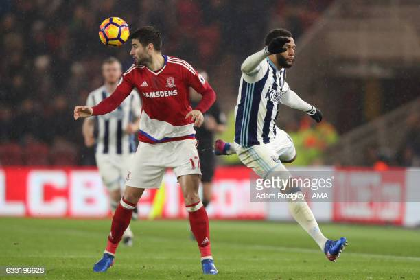 Antonio Barragan of Middlesbrough and Matt Phillips of West Bromwich Albion during the Premier League match between Middlesbrough and West Bromwich...