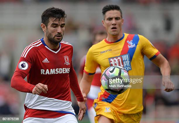 Antonio Barragan of Middlesbrough hold off Martin Kelly of Crystal Palace during the Premier League match between Middlesbrough FC and Crystal Palace...