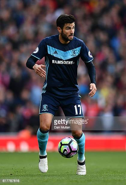 Antonio Barragan of Middlesbrough in action during the Premier League match between Arsenal and Middlesbrough at The Emirates Stadium on October 22...