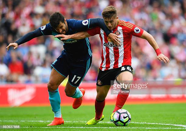 Antonio Barragan of Middlesbrough is challenged by Lynden Gooch of Sunderland during the Premier League match between Sunderland and Middlesbrough at...