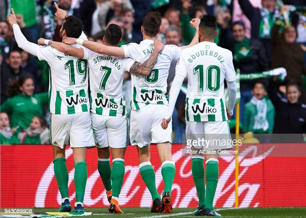 Antonio Barragan of Real Betis Balompie celebrates after scoring during the La Liga match between Real Betis and Eibar at Estadio Benito Villamarin...