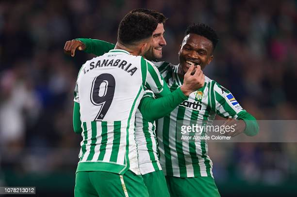 Antonio Barragan of Real Betis Balompie celebrates after scoring with Kaptoum and Arnaldo Antonio Sanabria during the Copa del Rey match between Real...