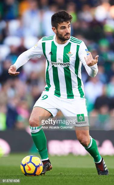 Antonio Barragan of Real Betis Balompie in action during the La Liga match between Real Betis and Villarreal at Estadio Benito Villamarin on February...