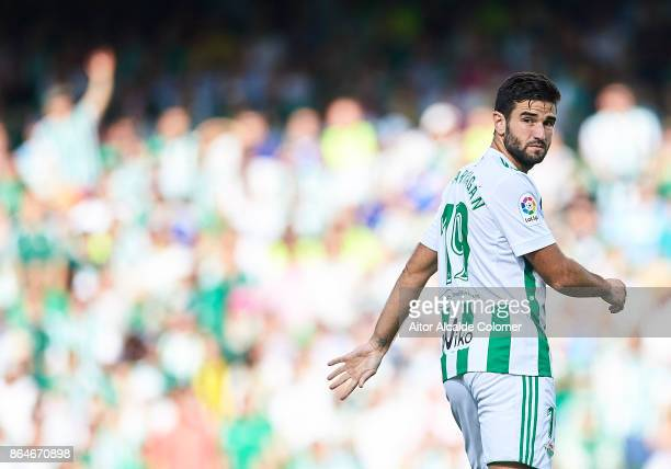 Antonio Barragan of Real Betis Balompie looks on during the La Liga match between Real Betis and Alaves at Estadio Benito Villamarin on October 21 in...