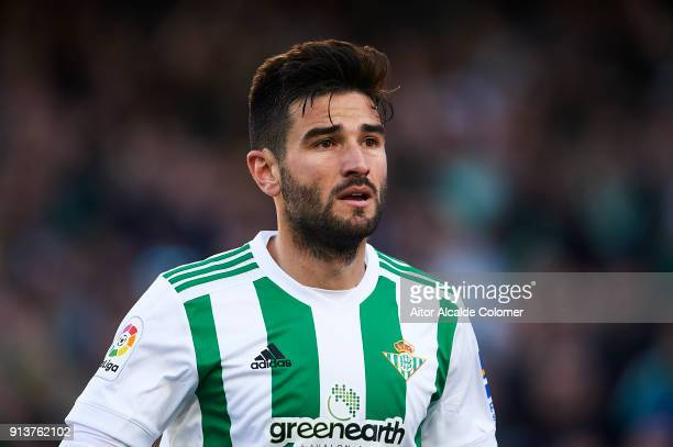 Antonio Barragan of Real Betis Balompie looks on during the La Liga match between Real Betis and Villarreal at Estadio Benito Villamarin on February...